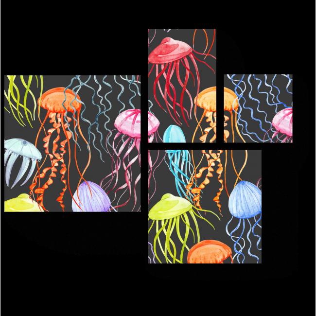 Модульная картина Разноцветные медузы