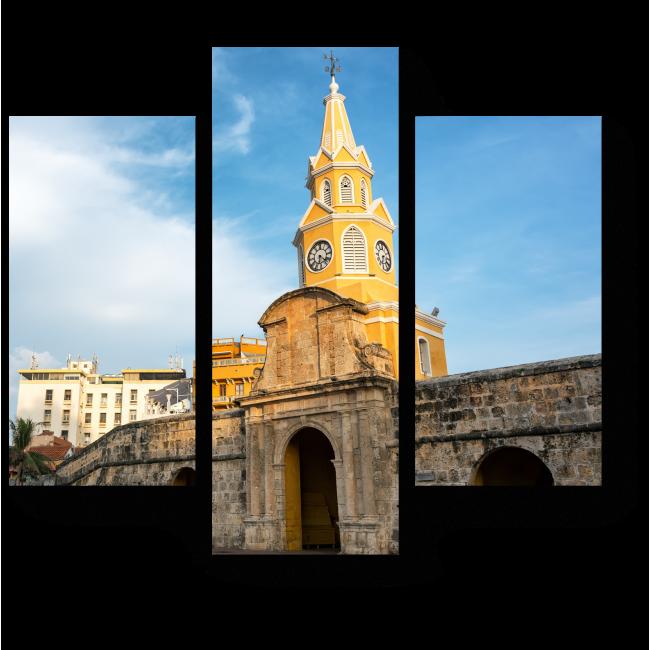 Модульная картина Башня с часами в Картахене, Испания