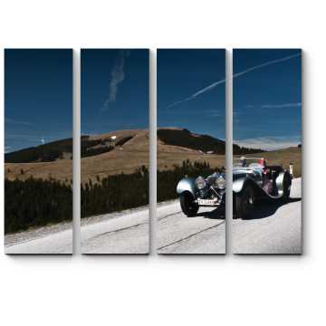 Модульная картина Ягуар СС 100 участвует в ралли ретро-автомобилей