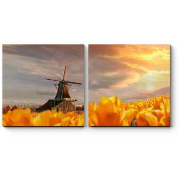 Модульная картина Ветряная мельница и желтые тюльпаны на закате