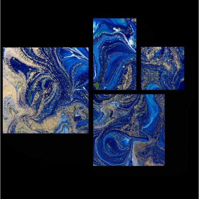 Модульная картина Синее с золотым