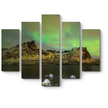Модульная картина Северное сияние над фьордами