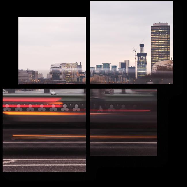 Модульная картина Огни пролетающих лондонских машин