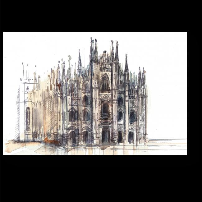 Модульная картина Миланский собор в акварели
