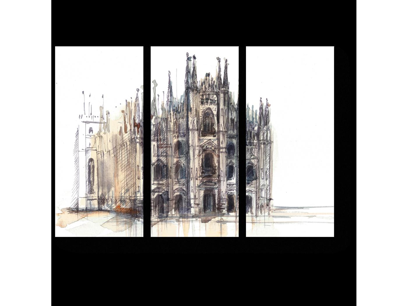 Модульная картина Миланский собор в акварели (60x43) фото
