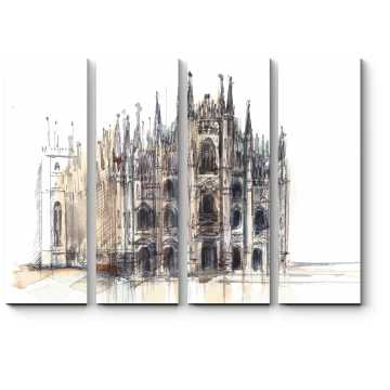 Миланский собор в акварели