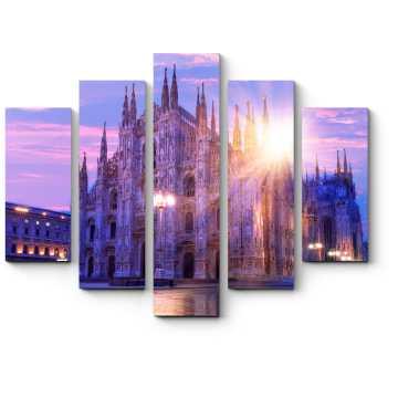 Модульная картина Миланский собор в лучах закатного солнца