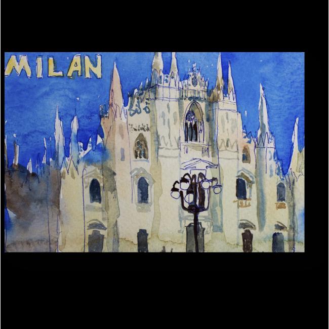 Модульная картина Акварельная открытка из Милана