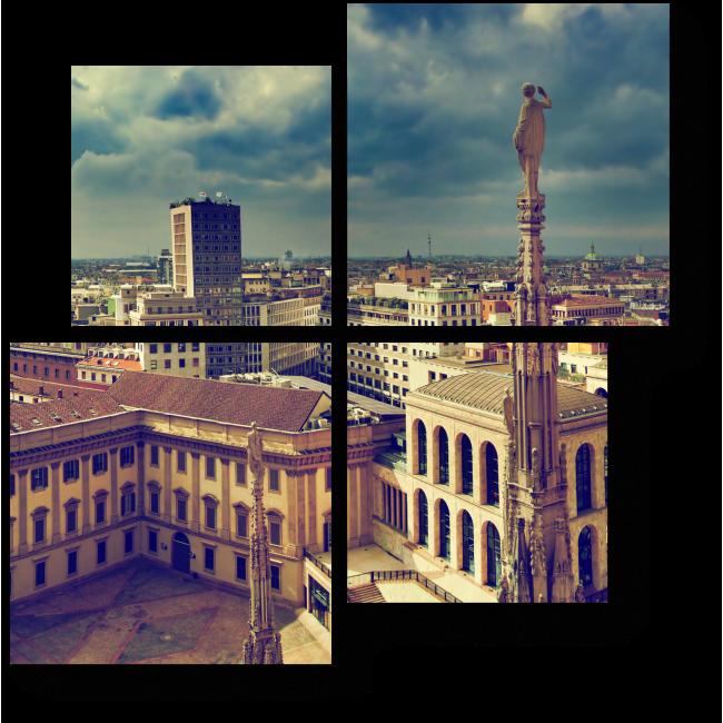 Модульная картина Захватывающая панорама с крыши Миланского Собора