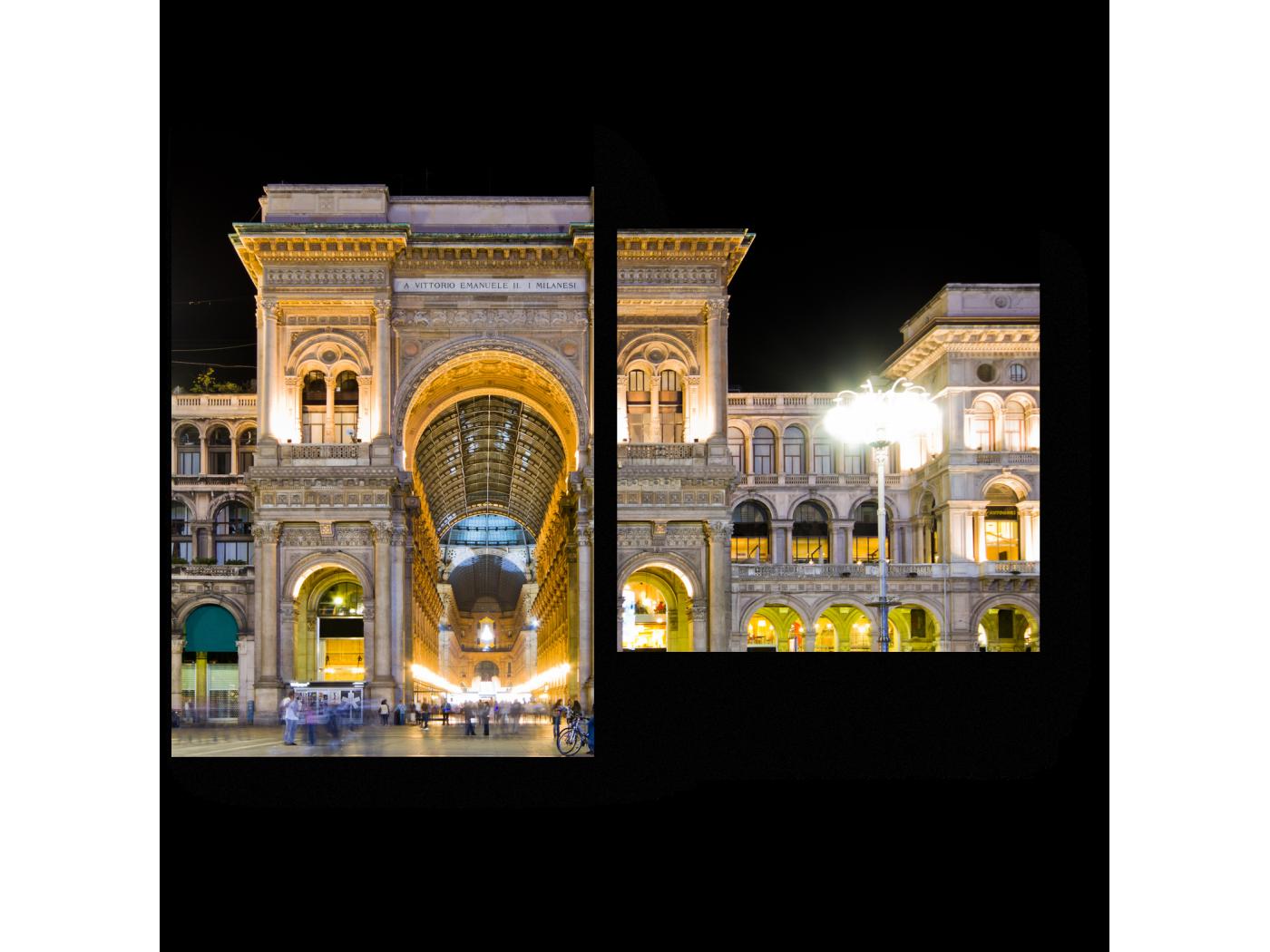 Модульная картина Галерея Витторио Эмануеле в свете ночных огней. Милан (40x30) фото
