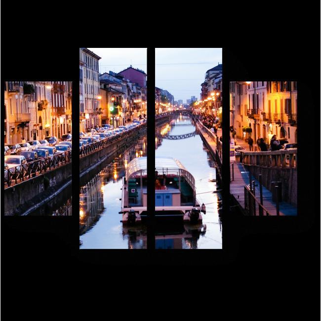 Модульная картина На берегу миланского канала
