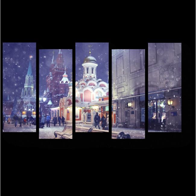 Модульная картина Зимний вечер в столице, Москва