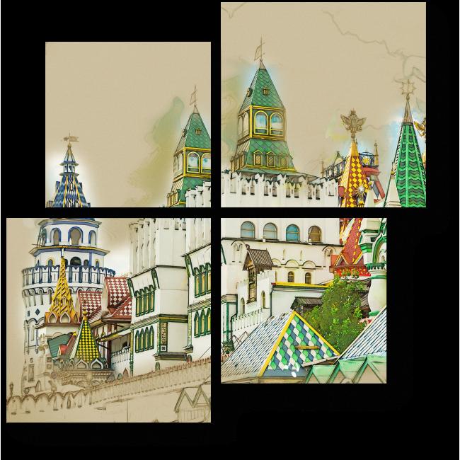 Модульная картина Измайловский Кремль , Москва