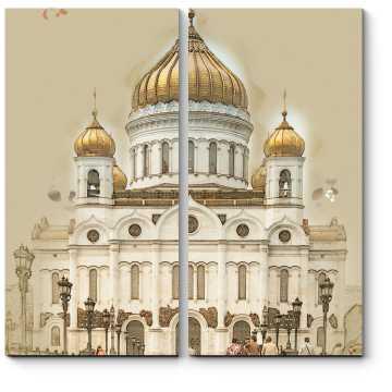 Модульная картина Храм Христа Спасителя, Москва