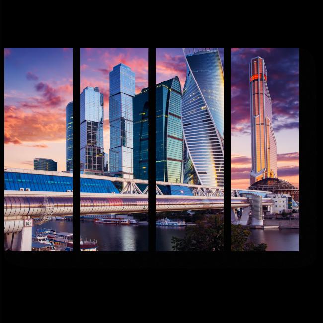 Модульная картина Бизнес центр на закате, Москва