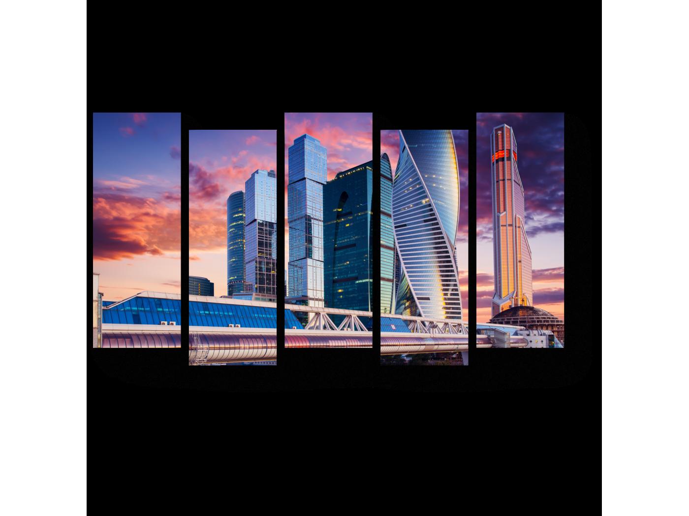 Модульная картина Бизнес центр на закате, Москва (90x52) фото