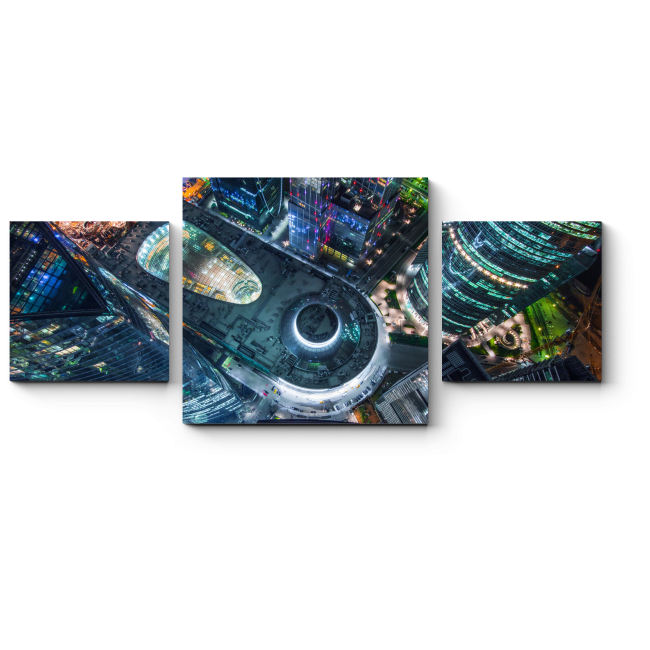 Модульная картина Москва-сити вид сверху