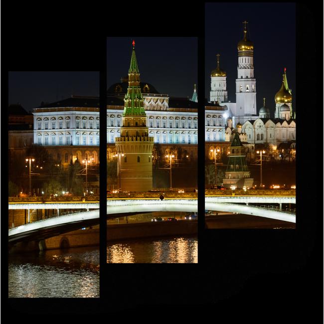 Модульная картина Ночный Кремль в отражении Москвы-реки