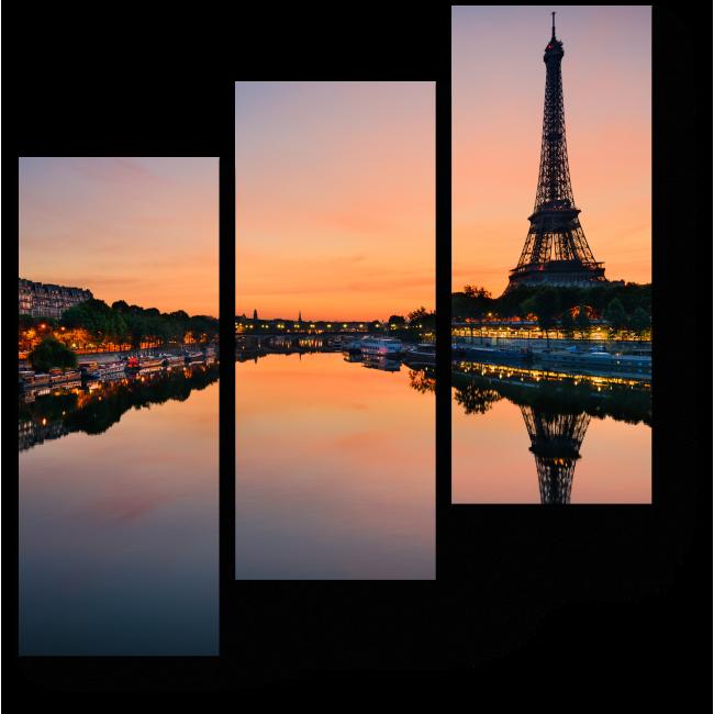 Модульная картина Эйфелева Башня на рассвете