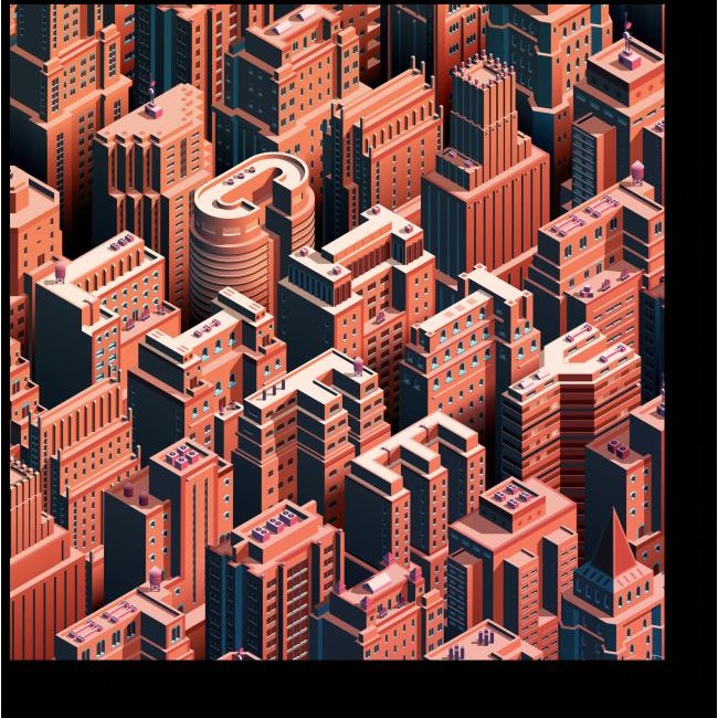 Модульная картина Жизнь города днём