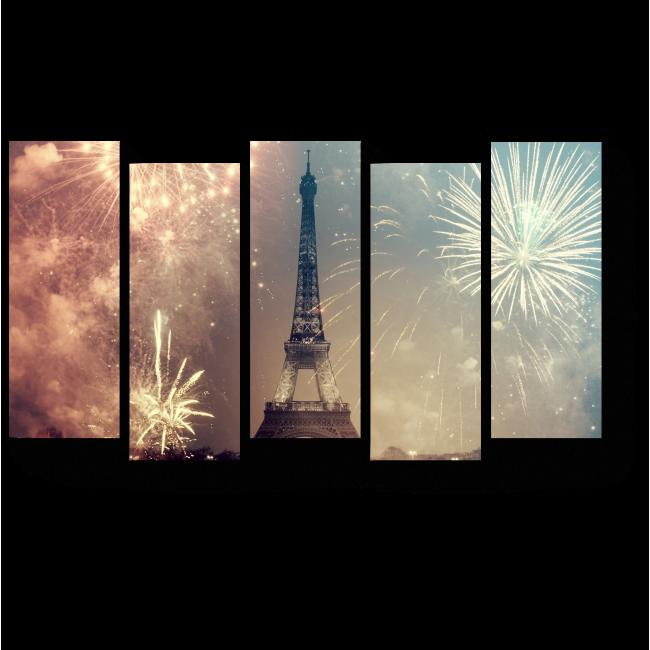 Модульная картина Новогодний фейерверк над Парижем
