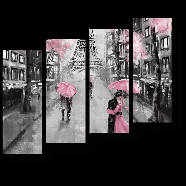 Модульная картина Париж глазами влюбленных