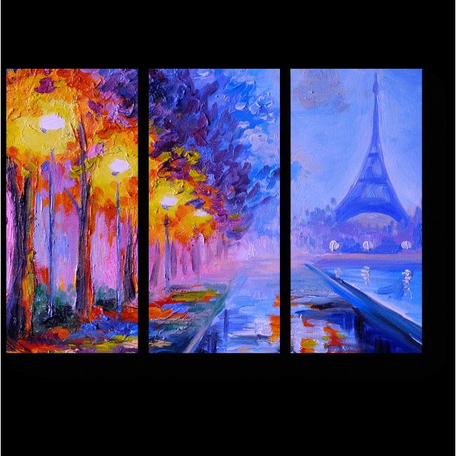 Модульная картина Эйфелева Башня в свете фонарей