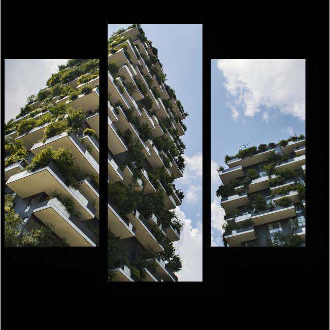 Модульная картина Вертикальный лес на миланских домах