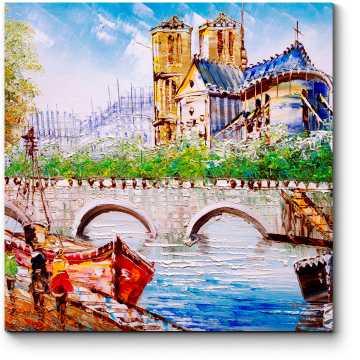 Модульная картина На набережной Парижа