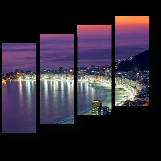 Модульная картина Пляж Копакабана в свете ночных огней