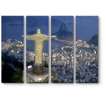 Над ночным Рио-де-Жанейро