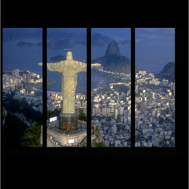 Модульная картина Над ночным Рио-де-Жанейро