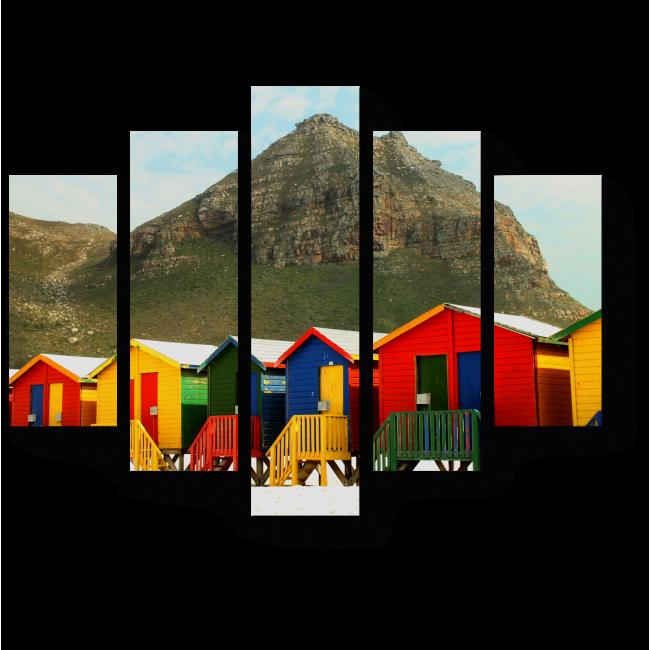 Модульная картина Яркие пляжные домики
