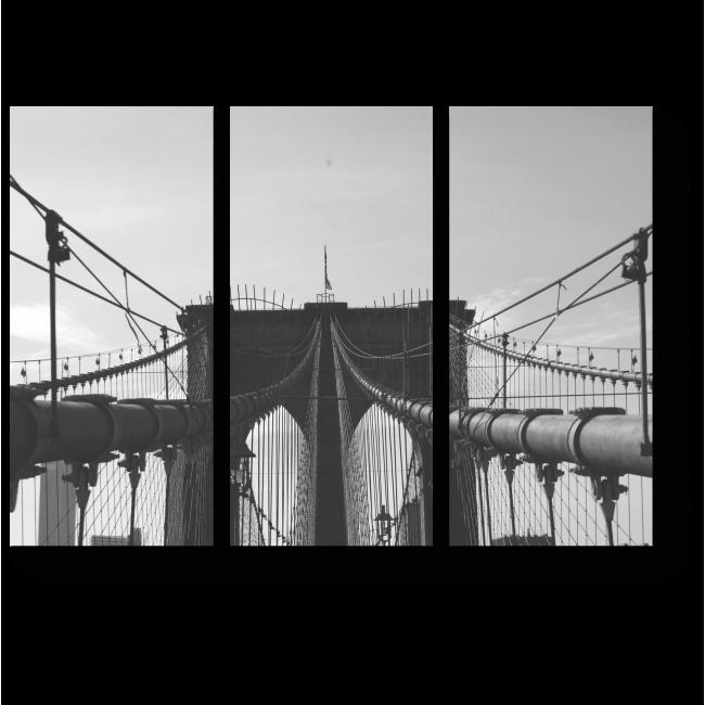 Модульная картина Линии черно-белого моста
