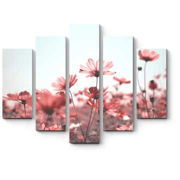 Модульная картина Розовое поле цветов