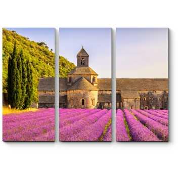 Модульная картина Аббатство Сенанка и цветущие ряды лаванды