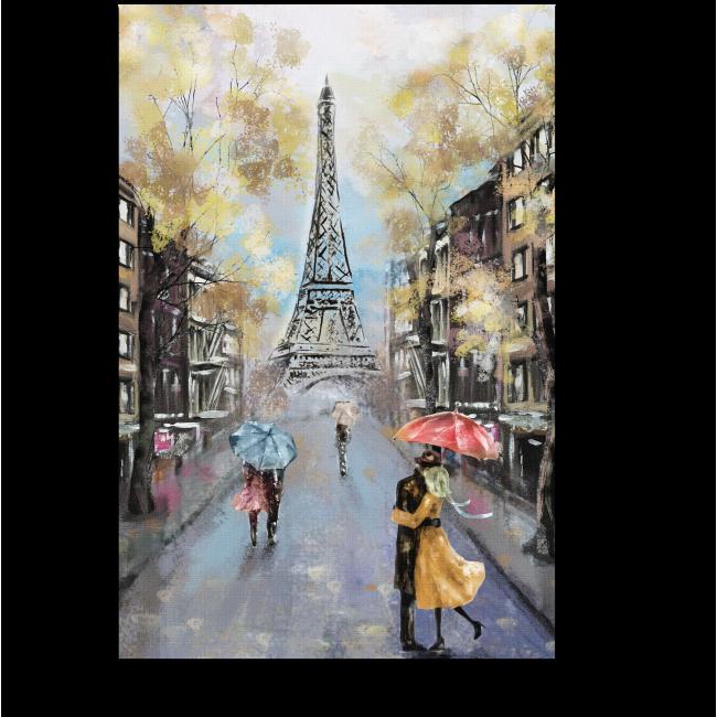 Модульная картина Пара под зонтом на улице