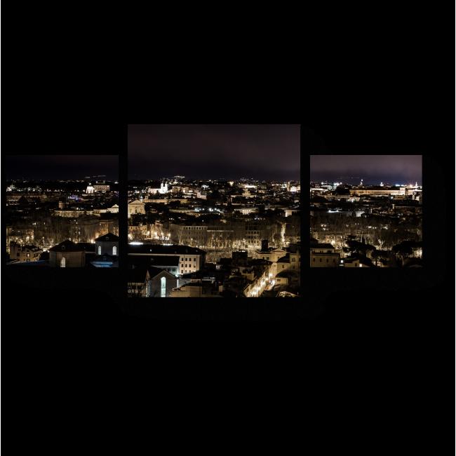 Модульная картина Ночная панорама Рима