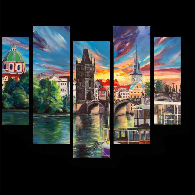 Модульная картина Прекрасный вид на Пражский град