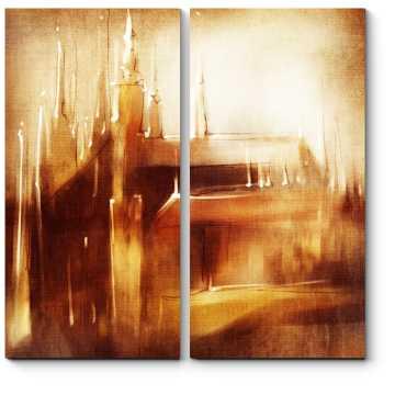 Модульная картина Прага в оттенках охры