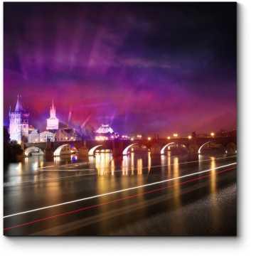 Модульная картина Карлов мост прекрасной ночью, Прага