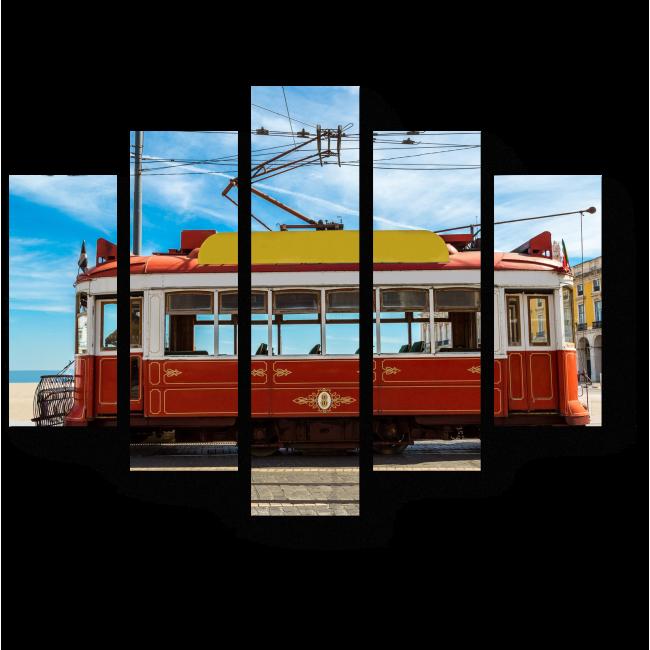 Модульная картина Старинный трамвай в центре Лиссабона
