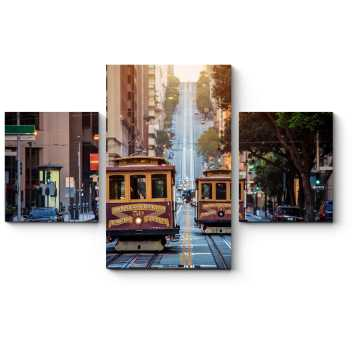 Два старинных трамвая по улицам Сан-Франциско