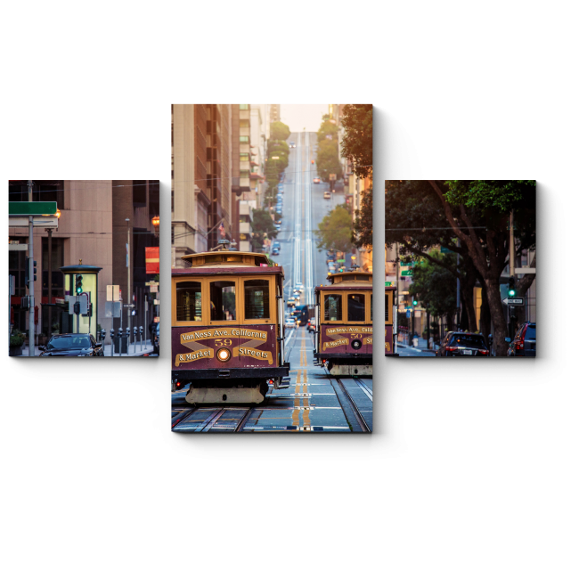Модульная картина Два старинных трамвая по улицам Сан-Франциско