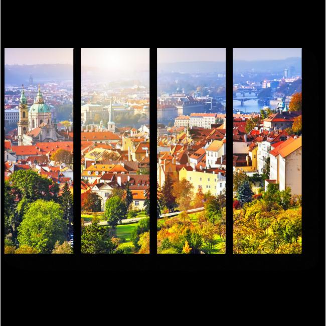Модульная картина Изумительная панорама Праги