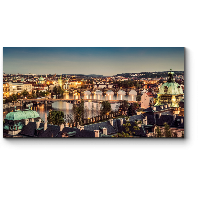Модульная картина Пролетая над крышами Праги