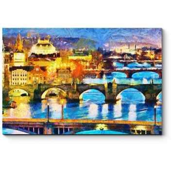 Модульная картина Величественные воды Влтавы, Прага