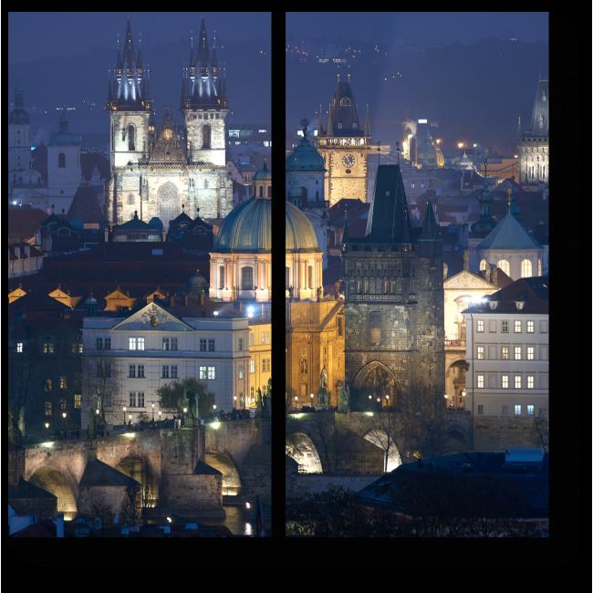 Модульная картина Ночная Прага прекрасна
