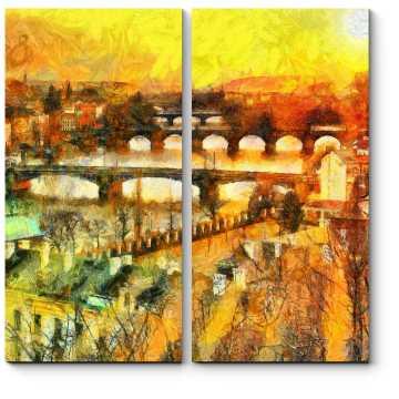 Модульная картина Прага в лучах солнца, масло