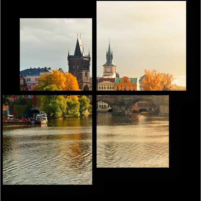 Модульная картина Закат в Старом Городе, Прага